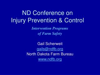 ND Conference on  Injury Prevention & Control
