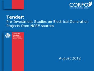 Tender:  Pre-Investment Studies on Electrical Generation Projects from NCRE sources