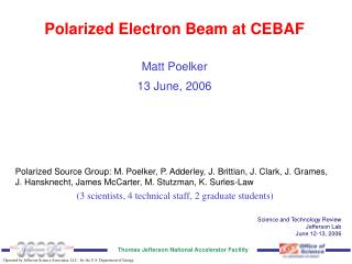 Polarized Electron Beam at CEBAF