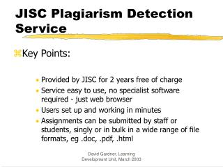 JISC Plagiarism Detection Service