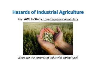 Hazards of Industrial Agriculture