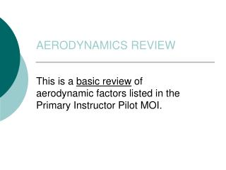 AERODYNAMICS REVIEW