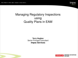 Managing Regulatory Inspections  using  Quality Plans in EAM