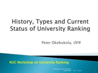 History, Types and Current Status of University Ranking