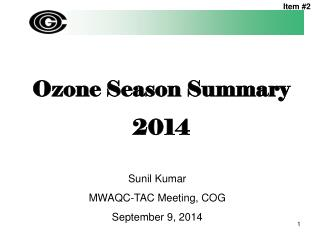 Ozone Season Summary 2014
