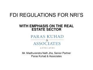 FDI REGULATIONS FOR NRI'S