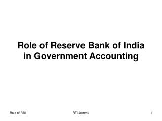 Role of Reserve Bank of India in Government Accounting