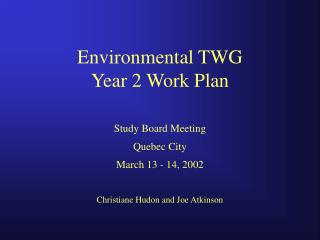 Environmental TWG Year 2 Work Plan
