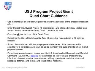 USU Program Project Grant Quad Chart Guidance