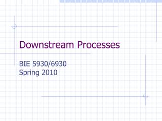 Downstream Processes