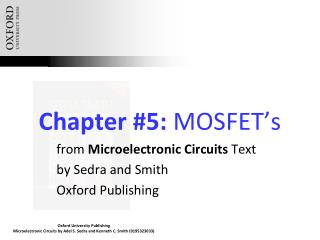 Chapter #5:  MOSFET�s