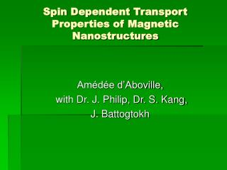 Spin Dependent Transport Properties of Magnetic Nanostructures