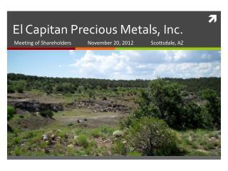 El Capitan Precious Metals, Inc.
