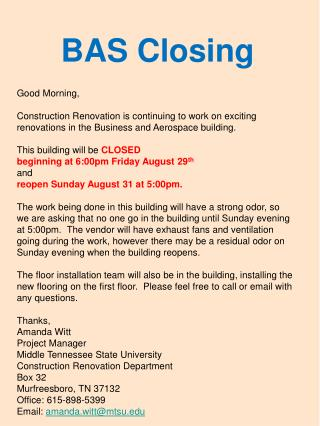 BAS Closing