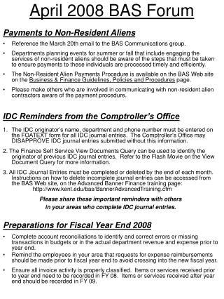 April 2008 BAS Forum