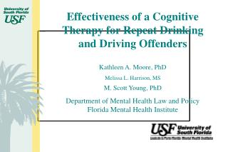 Effectiveness of a Cognitive Therapy for Repeat Drinking and Driving Offenders