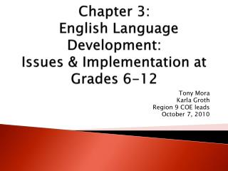 Chapter 3:   English Language Development: Issues & Implementation at Grades 6-12
