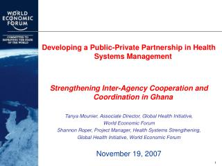 Developing a Public-Private Partnership in Health Systems Management