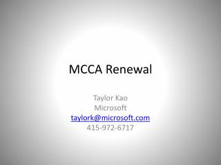 MCCA Renewal