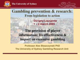Gambling prevention & research:  From legislation to action
