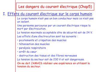 Les dangers du courant �lectrique (Chap5)