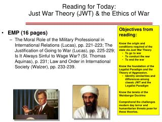 Reading for Today:  Just War Theory (JWT) & the Ethics of War