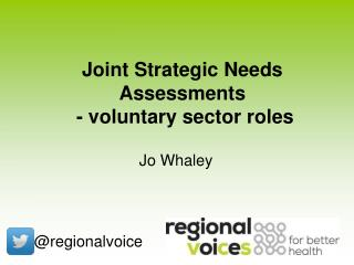 Joint Strategic Needs Assessments  - voluntary sector roles