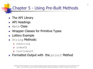 Chapter 5 - Using Pre-Built Methods