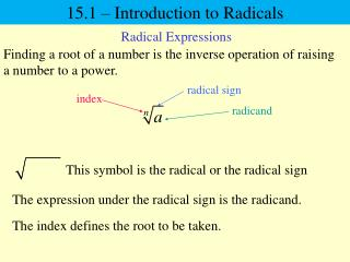 15.1 – Introduction to Radicals