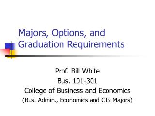 Majors, Options, and Graduation Requirements