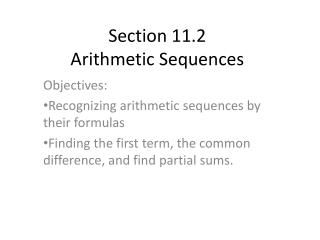 Section 11.2  Arithmetic Sequences