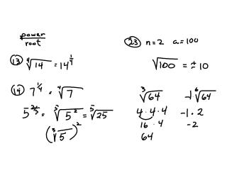 7.1  n th Roots and Rational Exponents Notes B