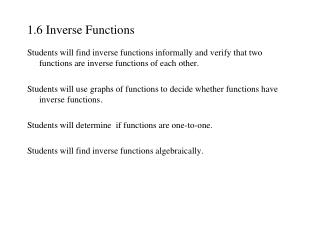 1.6 Inverse Functions