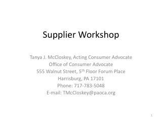 Supplier Workshop