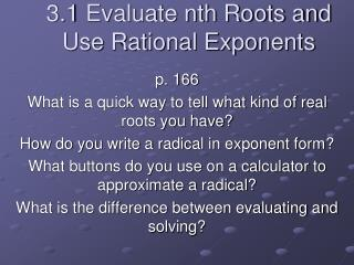 3.1 Evaluate nth Roots and Use Rational Exponents