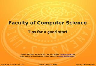 Faculty of Computer Science Tips for a good start