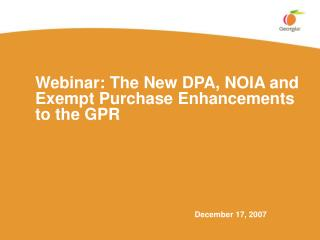 Webinar: The New DPA, NOIA and Exempt Purchase Enhancements to the GPR