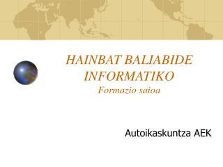 HAINBAT BALIABIDE INFORMATIKO Formazio saioa