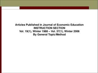 Articles Published in Journal of Economic Education INSTRUCTION SECTION
