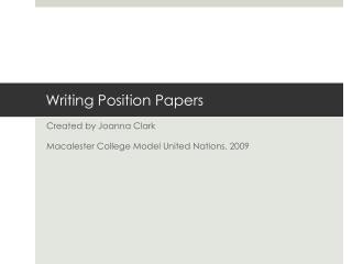 Writing Position Papers