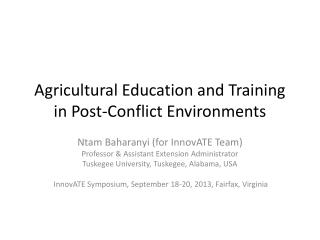 Agricultural Education and Training in Post-Conflict Environments