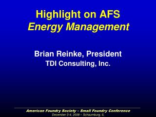 Highlight on AFS Energy Management