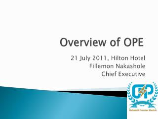 Overview of OPE