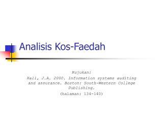 Analisis Kos-Faedah