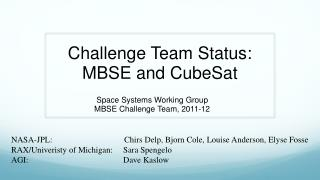 Challenge Team Status: MBSE and  CubeSat