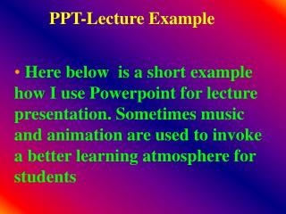 PPT-Lecture Example
