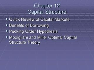 Chapter 12 Capital Structure