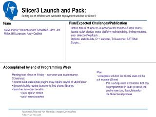 Slicer3 Launch and Pack: Setting up an efficient and workable deployment solution for Slicer3
