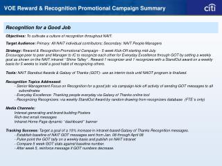 VOE Reward & Recognition Promotional Campaign Summary