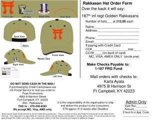 Rakkasan Hat Order Form